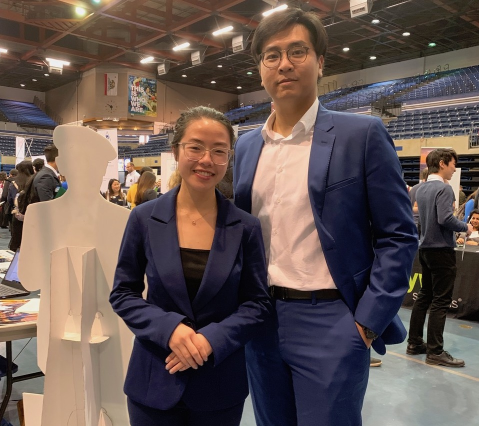 Kevin Le and Cattien Le, attendees at the Career Fair, were dressed to impress (Salvador Cruz/UC Davis).