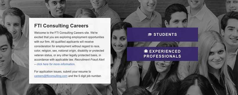 Screenshot of the top of the FTI jobs page