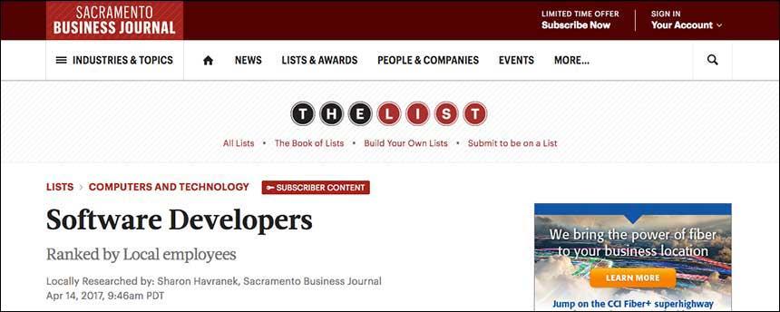 Screenshot of Sacramento Business Journal jobs list title page