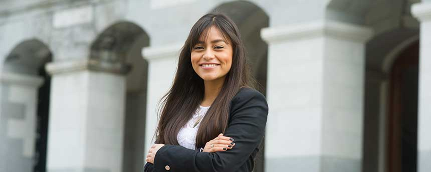 Ana Maciel in front of the California State Capital