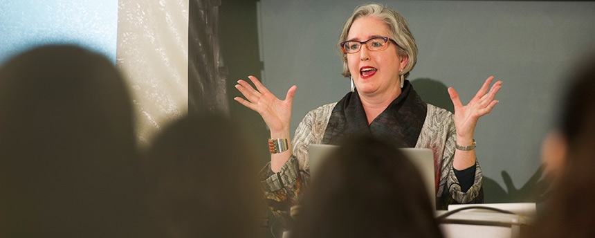 English Professor Frances Dolan talking in front of her class