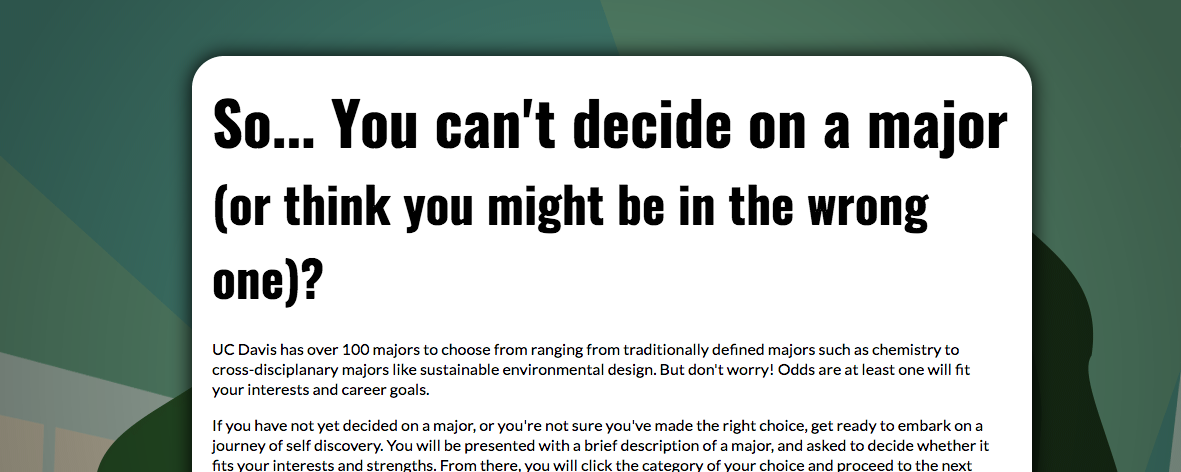 "Screenshot of computer screen that says, ""So... You can't decide on a major"""