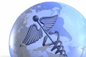 transparent globe with caduceus inside