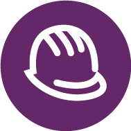 Purple button with a hard hat icon