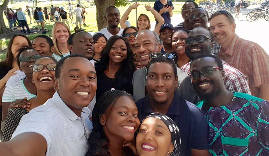 Gary May poses for a selfie with the Mandela Fellows.