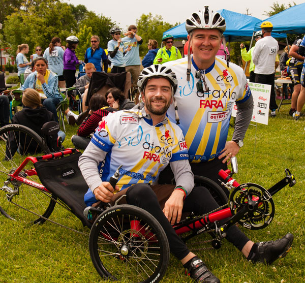 Kyle Bryant and Gino Cortopassi in biking gear