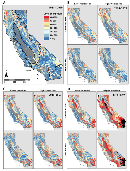 map of California climate stress