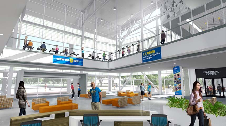 A rendering of the interior of the Activities and Recreation Center
