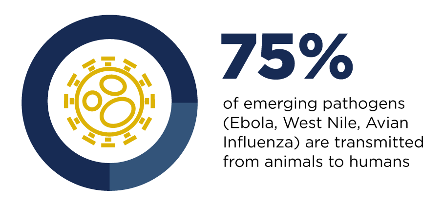 75% of emerging pathogens are transmitted from animals to humans
