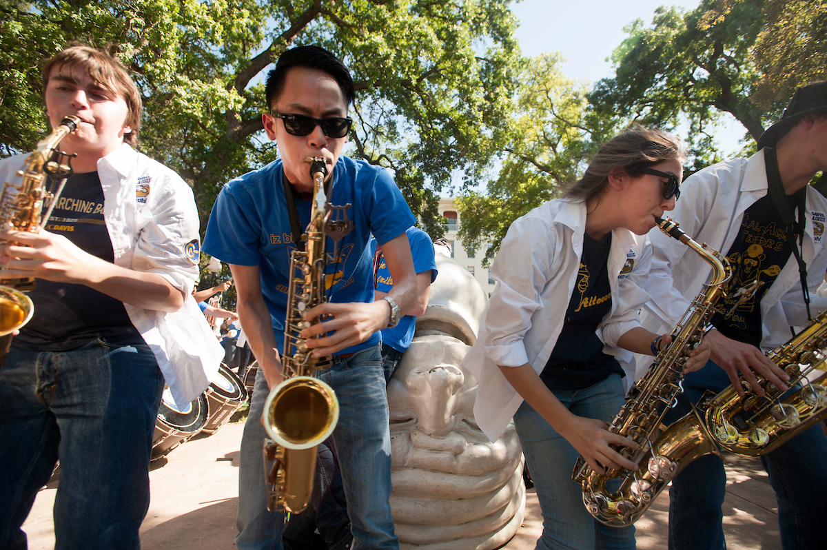 The UC Davis California Aggie Marching Band-Uh participates in the Battle of the Bands at Picnic Day.