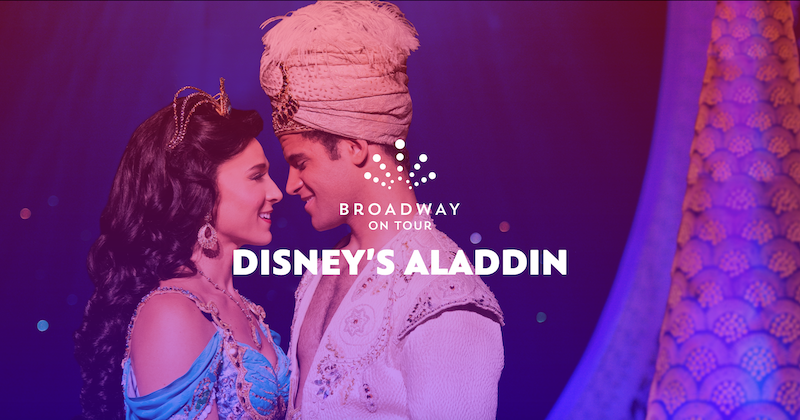 A promotional photo showing Aladdin and Jasmine facing each other.