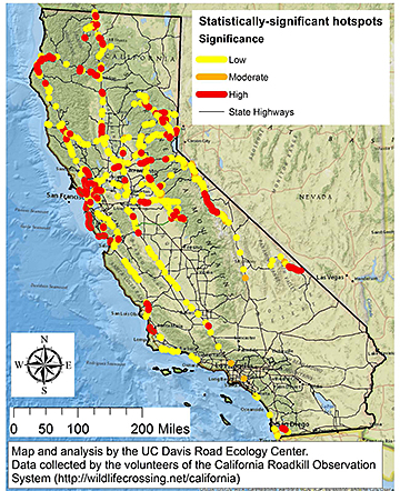 California map shows location of roadkill finds throughout the state