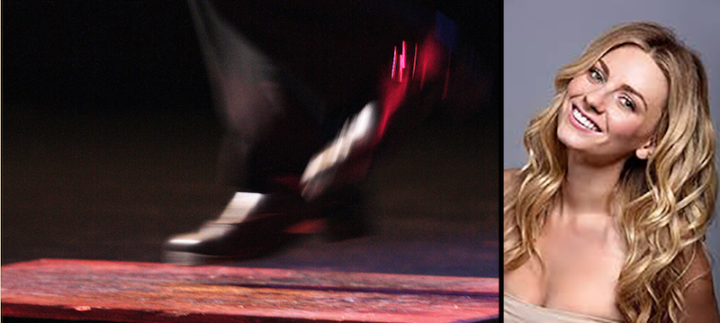 A photo of dancer Caterina Coyne next to a photo of feet dancing.
