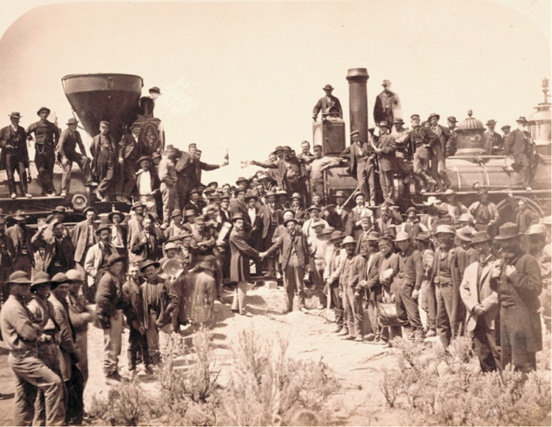 An archival photo of the Golden Spike ceremony.
