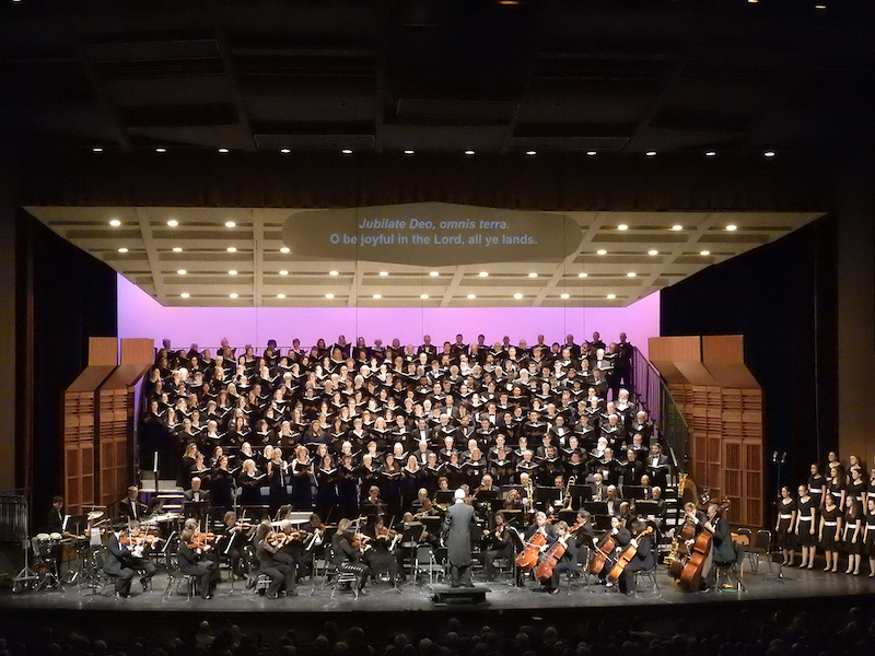 Sacramento Choral Society and Orchestra on stage.