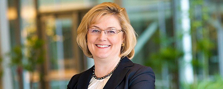 Woman in business suit in an environmental portrait