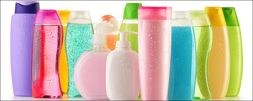 a number of plastic bottles used for skin care