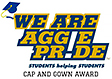 We are Aggie Pride cap and gown