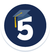 UC Davis is Ranked 5th Nationally Among Public Universities - Badge with a number 5 and a grad cap
